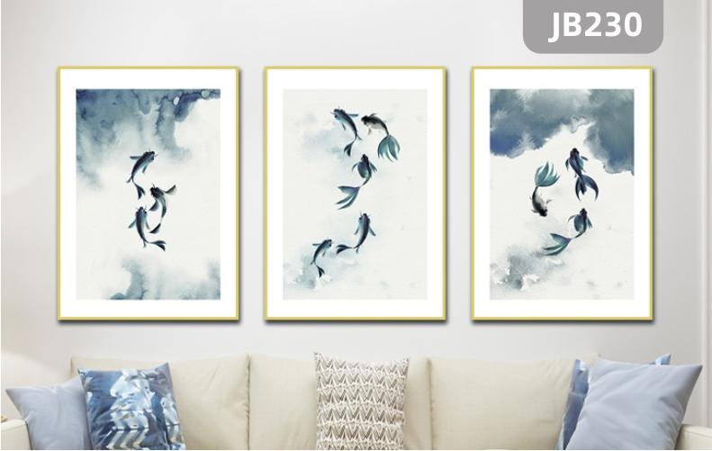 定制现代简约客厅三联装饰画北欧餐厅挂画纯手绘抽象金鱼图沙发背景墙挂画